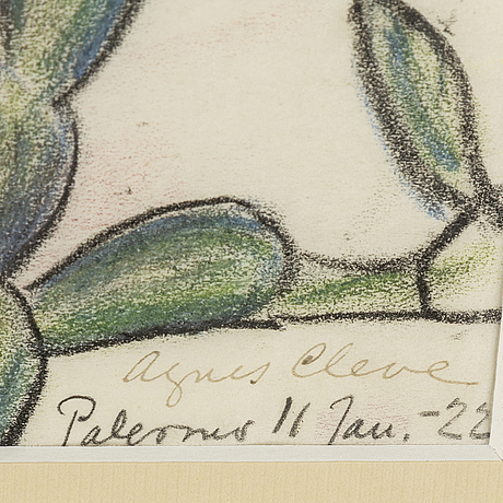 Agnes cleve, pastel, signed a. cleve and dated palermo 11 jan -22.