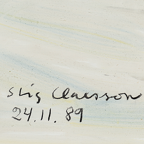 Stig claesson, oil on canvas, signed and dated -89.