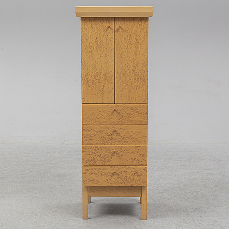 Karin tyrefors, an 'alfa' birch cabinet and mirror from fröseke form, 1988.