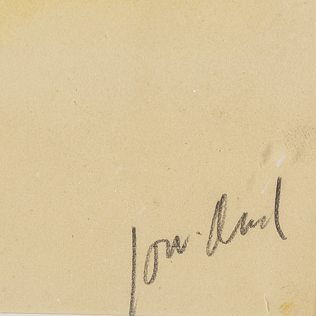 John jon-and, chalk- watercolour, signed.