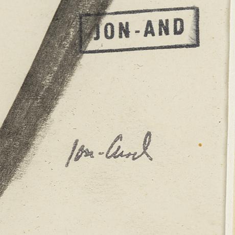 John jon-and, chalk- eatercolour, stamped signed.