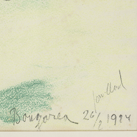 John jon-and, chalk drawings, signed and dated bougarea 26/2 1924.