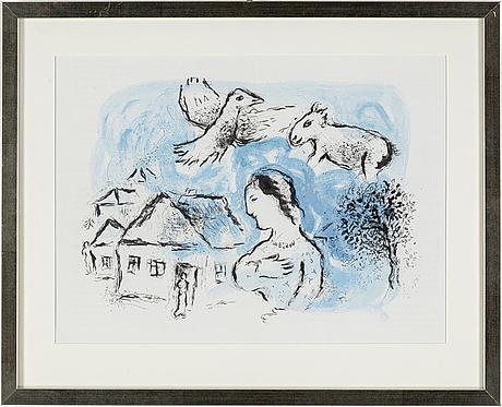 Marc chagall, ärglitografi, from derrière le miroir nr 225, 1977, ref mourlot nr 917.
