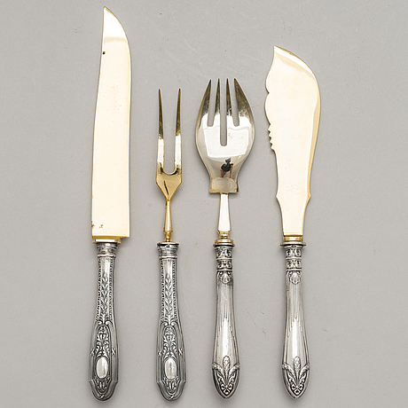 Trancher and fish serving cutlery, silver handles and gilt steel blades, karl hohmann, pforzheim, germany 1920s-30s.