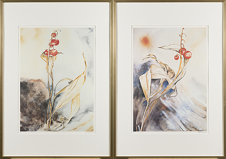 Tello anttila, print, 2 pieces, signed and dated -84.