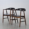 Armchairs, a pair, farstrup, denmark, later part of the 20th century.
