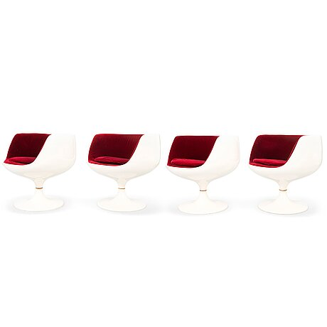 Eero aarnio, a set of four 'cognac' chairs by artekno for asko oy.