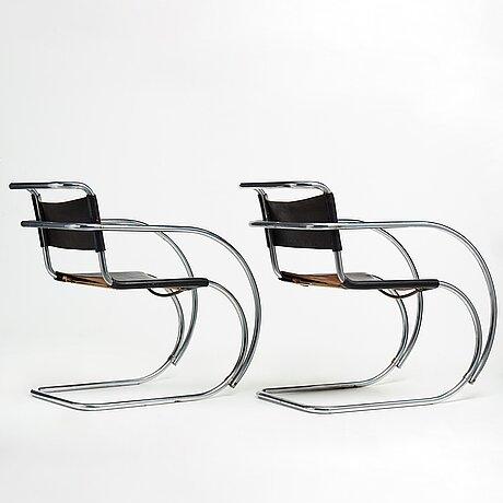 """Ludwig mies van der rohe, a pair of """"mr 20"""", armchairs, berliner metallgewerbe josef müller or bamberg metallwerkstätten, 1920's."""