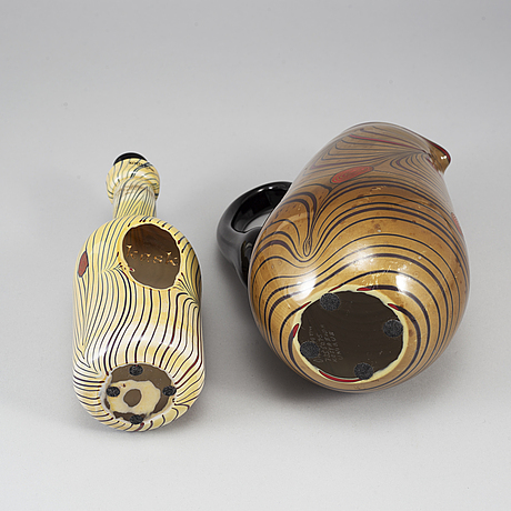 Olle brozÉn, a set of 6 unique glass objects, kosta boda, sweden.