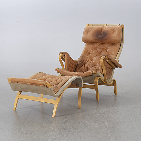 """Bruno mathsson, """"pernilla"""" armchair and stool from dux."""