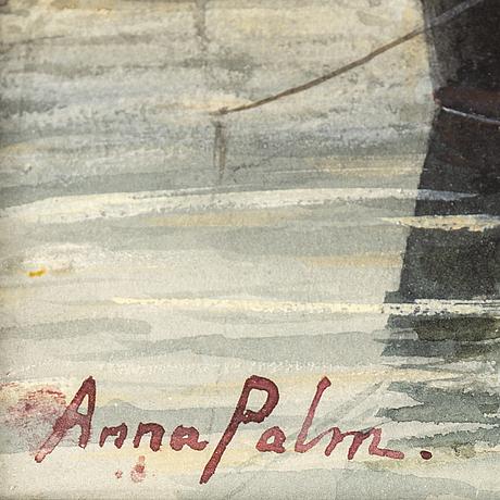 Anna palm de rosa, akvarell, signerad.