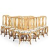Twelve chairs (4 and 8 matched), swedish rococo, 18th century.