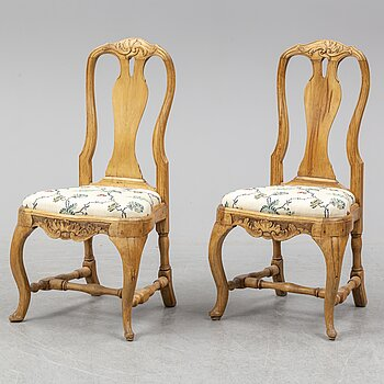 A pair of Swedish Rococo armchairs, 18th ct.