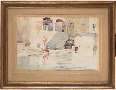 Karl hjalmar bergqvist, akvarell på papper, signerad och dated -29.