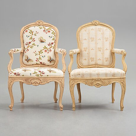 Two matched swedish rococo 18th century armchairs.