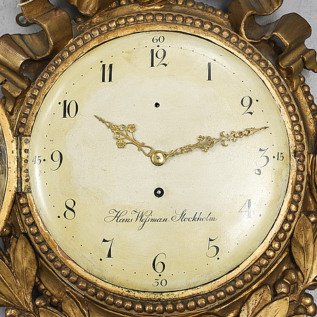 A gustavian wall clock by hans wessman (active in stockholm 1787-1805).