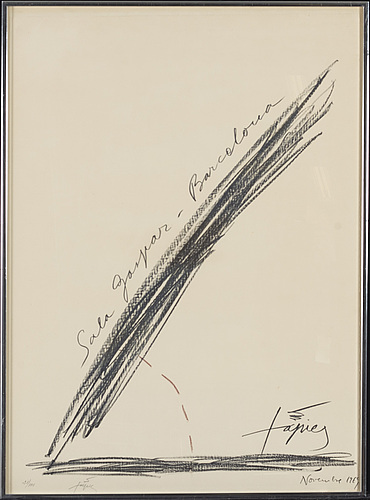 Antoni tÀpies, litograph, signed, numbered 21/100 and dated 1969.