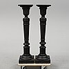 A pair of turned pedestals, late 19th century.