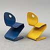 Two 'pantonic 500' chair by verner panton, designed in 1992.