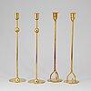 Firma svenskt tenn, 2+2 brass candlesticks. designed by estrid ericson and josef frank.