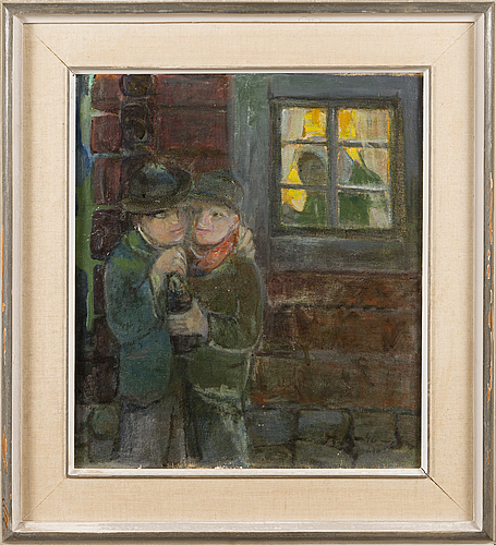 Hannes autere, oil on board, signed and dated-40.