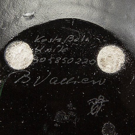 Bertil vallien, a glass bowl, for kosta, unique, signed.