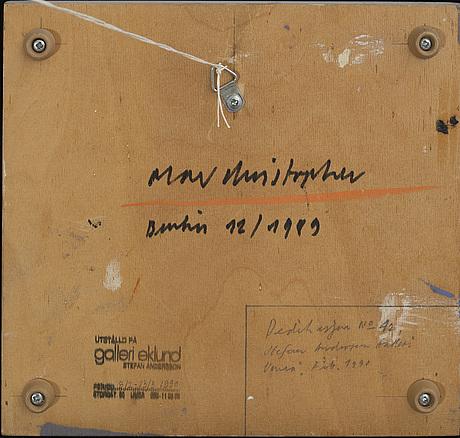 Olav christopher jenssen, oil on canvas, a tergo signerad olav christopher berlin 12/1989.