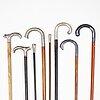 7 silver walking sticks, one marked kg markströms, uppsala 1950.