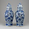 A pair of blue and white vases, qing dynasty, late 19th century.