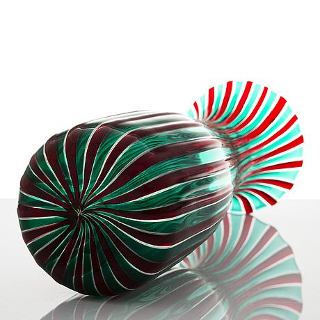 Gio ponti, a 1950's 'a canne' vase for venini murano.