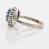 An 18k whithe gold ring set with a faceted sapphire weight 3.93 cts according to engraving.