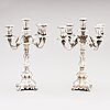 Two five-light silver candelabra, kultakeskus, hämeenlinna, finland 1945 and 1985/-86.