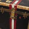 Trunk, john cattnach, new york, early 20th century. signed with label.