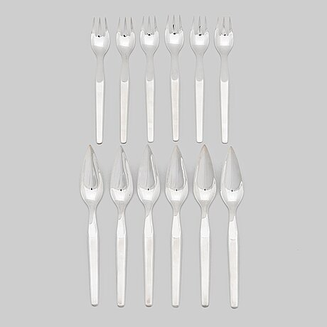Tapio wirkkala, a 12-piece set of 'marski' sterling silver fish cutlery, kultakeskus, hämeenlinna, finland 2002.