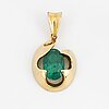 18k gold and oval faceted emerald pendant.