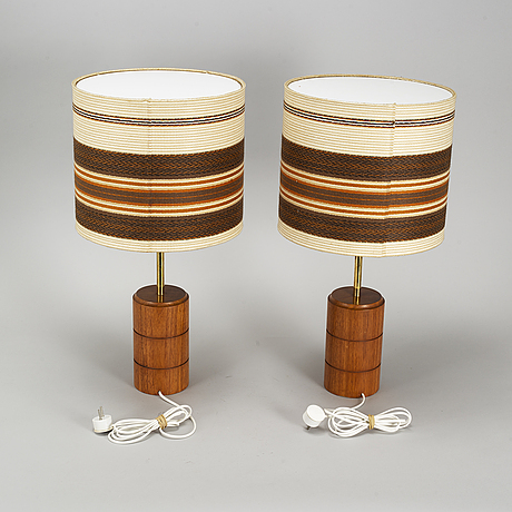 A pair of teak table lights, 1960's.