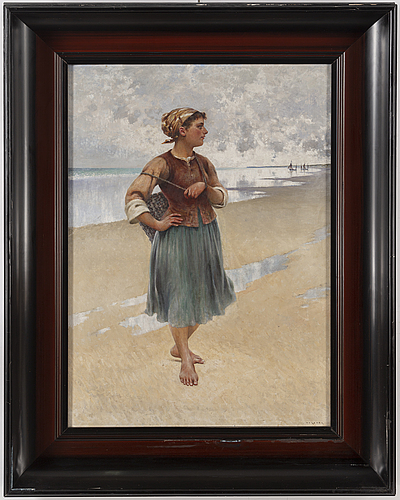August hagborg, oil on canvas, signed.