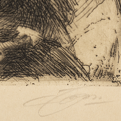 Anders zorn, etching, 1916, signed in pencil.