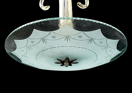 A 1930's glass ceiling lampa.