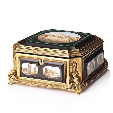 A micro mosaic gilt-bronze box by cesare roccheggiani -   rome, italy - second half / late c,19th century.