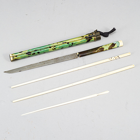 Two travelling sets of chopsticks and knifve, qing dynasty, circa 1900.