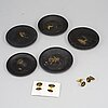 A set of five japanese metal dishes and a pair of cuff links, 20th century.