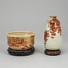 A group of three bowls and a vase, japanese, part nabeshima, 19th/20th century.