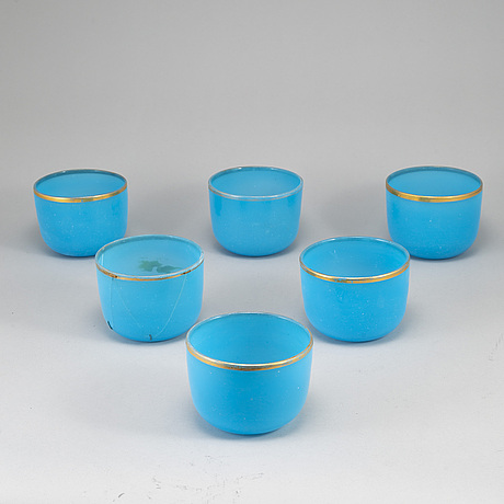 A set of six tukoise glass bowls, french, 19th century.