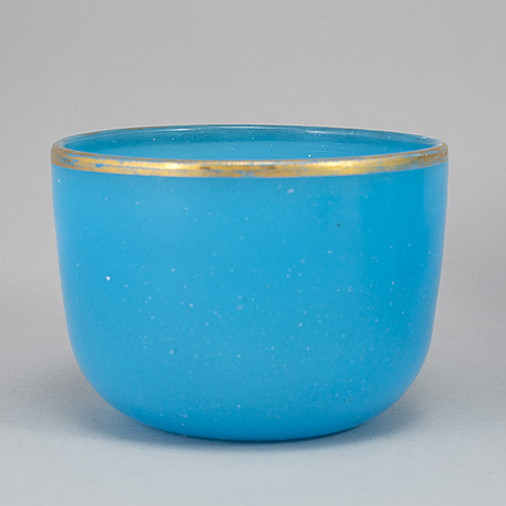 SkÅlar, sex stycken, turkost glas. frankrike, 1800-tal.