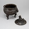 A japanese bronze censer with cover, meiji period (1868-1912).