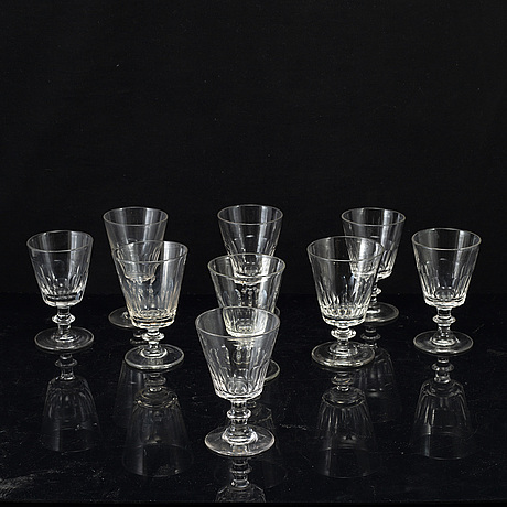 A matched group of cut glasses, sweden, 20th century (9 pieces).