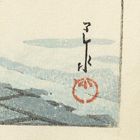 """Kawase hasui (1883-1957), color woodblock print. japan, """"snow""""."""