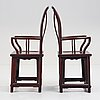 A pair of hardwood chairs, china, early 20th century.