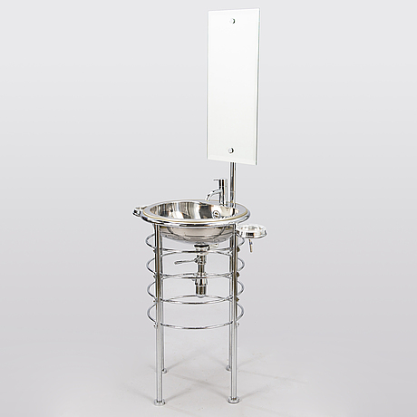 Lola herzburg, a free standing wash unit provided with soapholders and mirror from the 21th century. rapsel. italy.